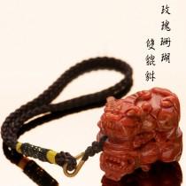 【不是你奶奶的珊瑚】玫瑰珊瑚雙貔貅吊飾 招財|避邪|鎮宅|轉運