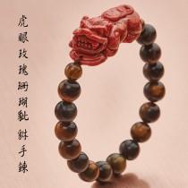 【不是你奶奶的珊瑚】玫瑰珊瑚豼貅黑曜石手鍊(男款) 招財|避邪|鎮宅|轉運